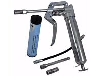 120cc Pistol Grip Grease Gun Set + 3 Oz Cartridge + Rigid Nozzle + Flexible Hose