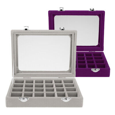 2 Pc Jewelry Necklace Ring Earring Storage Display Box Case Organizer Travel