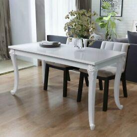 Dining Table 116x66x76 cm High Gloss White-243383
