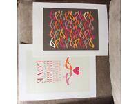 Pair of designer Scandi style'birds' posters/printed artwork, unframed.