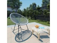 Outdoor Rocking Moon Chair Grey Poly Rattan-44482