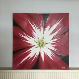 Flower print wall decor