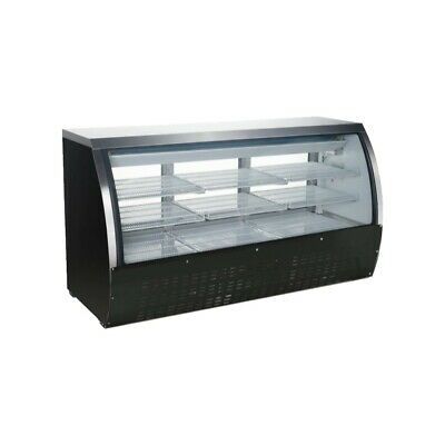 64 Curved Glass Refrigerated Deli Case Meat Or Seafood Showcase - Black