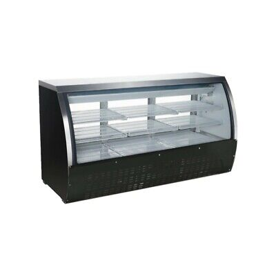 Peakcold 64 Curved Glass Refrigerated Deli Case Meat Showcase - Black