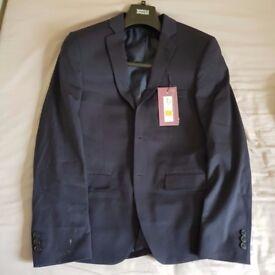 Mark Spenser M&S Mens 2 Piece Suit Pants Wool Lycra Slim Fit Small Size 36 Blue
