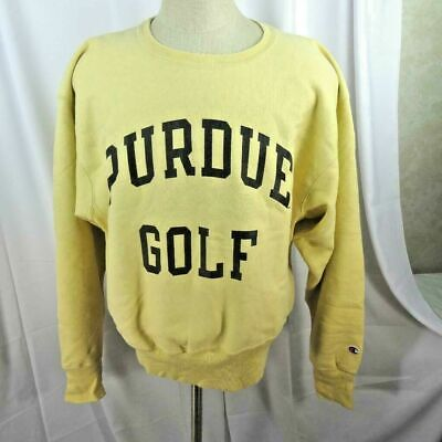 Vintage Champion Sweatshirt Men Size L Purdue Golf Reverse Weave Crewneck Yellow ()