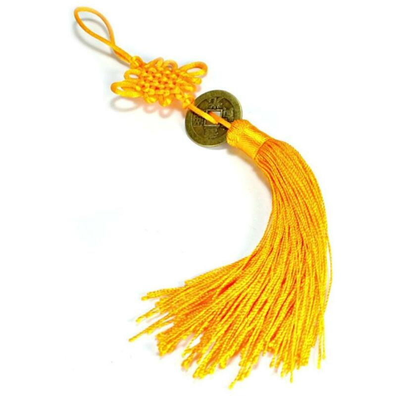 FENG SHUI FORTUNE COIN TASSEL GOLD Hanging Cure NEW Health Spiritual Yang Chi