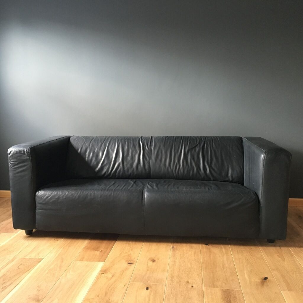 black faux leather ikea klippan sofa in good condition in grangetown cardiff gumtree. Black Bedroom Furniture Sets. Home Design Ideas