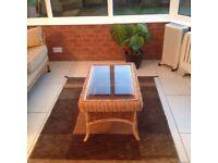 Glass top wicker table