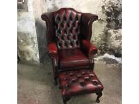 Vintage Chesterfield Queen Anne Armchair and Footstool