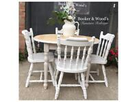 Shabby chic extending pine table & chairs