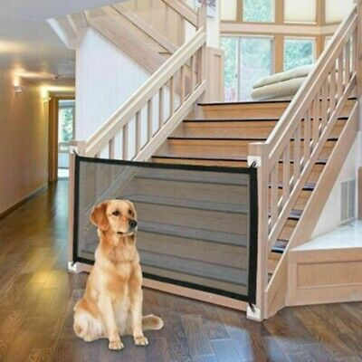 Pet Dog Gate Retractable Safety Guard Folding Baby Toddler Stair Gate Isolation