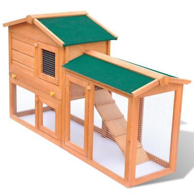 Large Pet Rabbit Hutch 1 House 3 Doors Guinea Pig Bunny Animal House Shelter Run for sale  USA