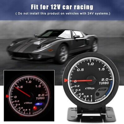60mm Universal LED Turbo Boost Meter Gauge For Auto Racing Car 0-200 KpaS