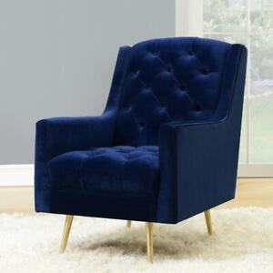 Picket House UBY286100GL Brielle Polyester Tufted Accent Chair - Navy Blue (Assembled)