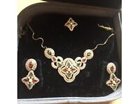 Indian Bollywood Costume Jewellery Necklace Set Gold Design Wedding Fashion with Box