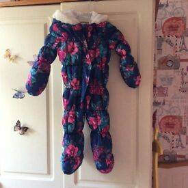 Girls 6-9 months navy blue floral snowsuit
