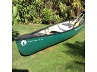 Mad River Canoe 14-0 TT Explorer, 2 wood beaver tail paddles, front and rear floatations bags