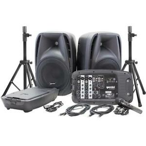 Dual 10 Speakers with 600w Peak Power - Portable Bluetooth System Kit with Microphone and Stands Gemini ES-210MXBU-ST