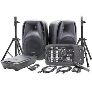"Dual 10"" Speakers with 600w Peak Power - Portable Bluetooth System Kit with Microphone and Stands Gemini ES-210MXBU-ST"