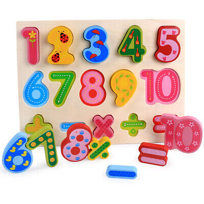 Wooden Shape/ Number/ Alphabet Puzzle Developmental Toys for Baby Toddlers - Developmental Toys For Toddlers