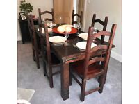 Solid hardwood dining table & chairs
