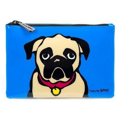 Marc Tetro Pug PVC Cosmetic Bag Make Up Pouch Blue Pug Design