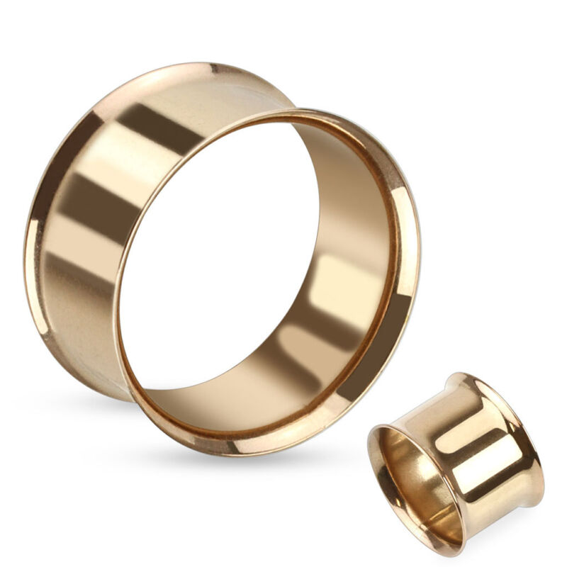 12pc Rose Gold Plated Steel Double Flare Tunnel Large Gauge Wholesale Lot (p121)