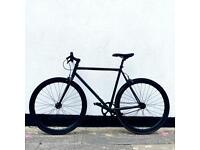 Single Speed All Black Matte Bicycle - Road Bike / Freewheel / Fixie / Single Gear