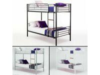 💢SUPERB SILVER FINISH💢Kids Bed💢 Single Metal Bunk Bed Frame W Optional Mattresses💢Order Now💢.