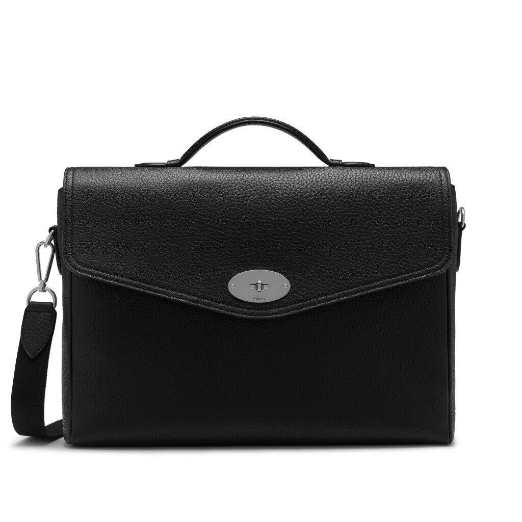 b264b4e2bd5 Genuine Mens Mulberry Antony Briefcase Black Shoulder Bag Classic Grain BNWT