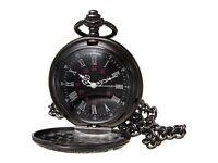 Retro Vintage Antique Steampunk Black Quartz Necklace Pendant Pocket Watch Gift