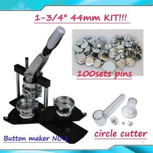 ALL METAL Button maker kit!! 1-3/4 44mm Badge Button Maker+Circle Cutter+100 Pin back Button PARTY HOME FOR SALE