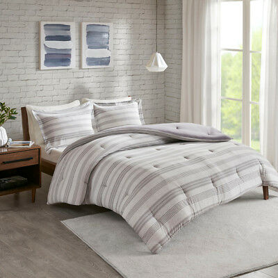 Elegant Grey Navy Cotton Jersey knit Stripes 3 pcs Comforter Cal King Queen Set ()