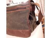 Green denim mens messenger/satchel bag
