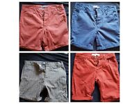 4 MENS MEDIUM 32 INCH WAIST SHORTS - TOPMAN & RIVER ISLAND - GREAT CONDITION - £10 QUICK SALE