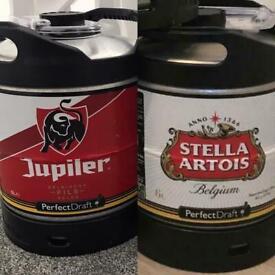 Stella Artois and Jupiler Perfect Draft Lager Kegs
