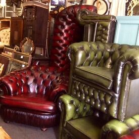 Green Chesterfield 3 piece suite