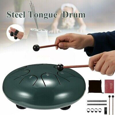 6 inch 8 Tune Notes Steel Tongue Drum Percussion Musical Instrument Handpan UK