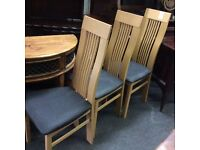 3x beech wood dining chairs