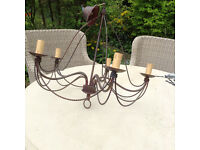 Bronze Iron Chandelier - large rustic style ceiling light pendant - Perfect Condition
