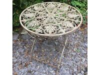 Round Heavy Metal Antique Effect Table NEW
