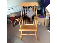 Retro pine rocking chair