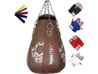 TurnerMAX Leather Pear Shape Maize Bag, Boxing Punch Bag, Filled, FREE Chain & Mitts (Brown, 2Ft)