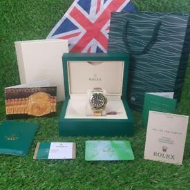 Rolex Submariner Gold Strap Green Face - Complete Set Box And Papers 1YFW