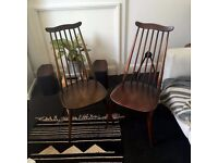 2 Authentic 1960 Ercol Goldsmith chairs in Dark wood