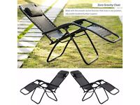 SALE! Set of 2 Black Outdoor Foldable Sun Lounger Chair Pool Lounge Chair SALE!