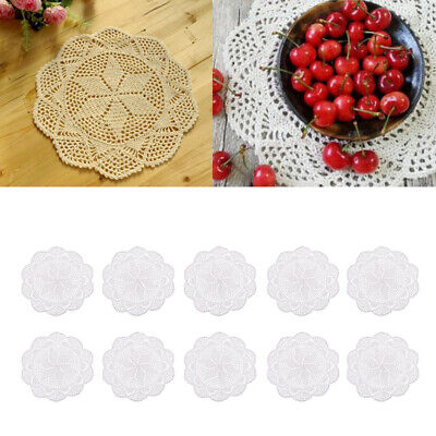 10x Crochet Lace Table Doily Cup Mat Handmade Table Cover Home Decorations