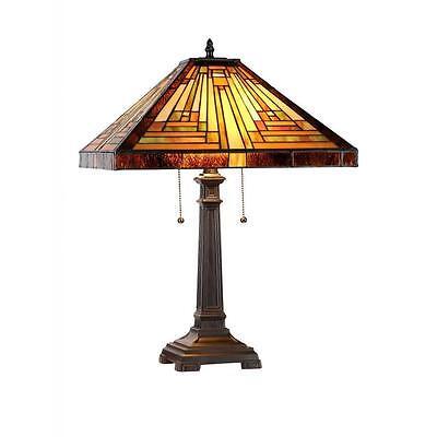 Chloe Tiffany Style Mission Design 2 light Dark Antique Bronze Table Lamp