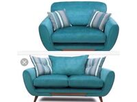 Dfs Teal 3 seater and cuddle seat